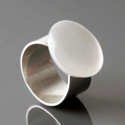 Bague MX 358 blanc métallique